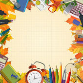 Vector frame of school supplies. School poster in vintage style. — Stock Vector