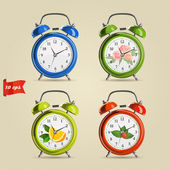 Set of realistic colorful alarm clock. — Vettoriale Stock