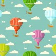 Retro seamless travel pattern of balloons. — Stock Vector #50387075