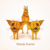 Glückliche Freundschaft Tag Hintergrund mit hübsch lustig Füchse und bunten Text Freunde für immer. — Stockvektor