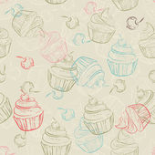 Seamless pattern with sweet cupcakes and berries in vintage style. Wedding background. Retro texture. — Stock Vector