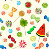 Lollipops and candies seamless pattern in cartoon style. — Stock Vector
