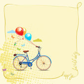 Birthday greeting card in cartoon style with bicycle and balloons. — Stock Vector
