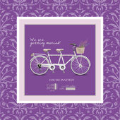 Wedding invitation in vintage style and lilac shades. Bike - a tandem with a basket of lavender. — Stockvector