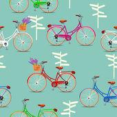 Nahtlose muster mit vintage fahrräder auf beige hintergrund im retro-stil. — Stockvektor