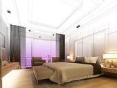Skizze design der schlafzimmer, 3d render — Stockfoto
