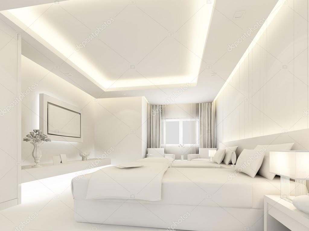 Sovrum inredning i vit färg, 3d render — stockfotografi © yaryhee ...