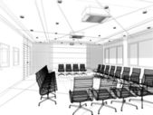 Sketch design of interior conference, wire frame 3d , abstract — Stock Photo