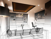 Sketch design of interior living — Stockfoto