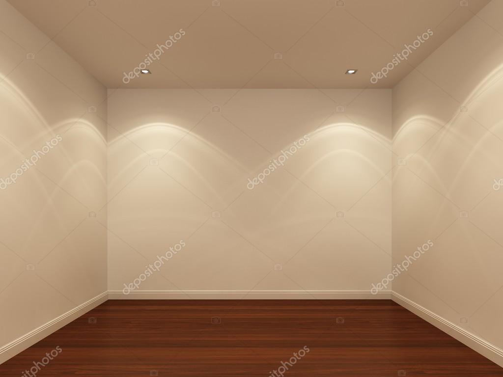 Mur blanc et plancher de bois dans la nuit la chambre for Chambre vide