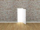 Door open on brick wall ,3d — Stock Photo