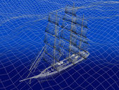 3D wireframe of Chinese Junk in ocean — Stock Photo