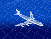 3D wireframe of airplane flies over a sea — Stock Photo