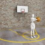 Basketball player shooting the ball , street basketball, Urban basketball court — Stock Photo #51047691