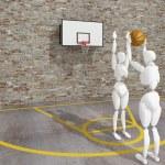 Basketball player shooting the ball , street basketball, Urban basketball court — Stock Photo #51047915