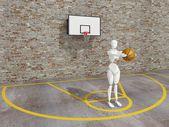 Basketball player shooting the ball , street basketball, Urban basketball court — Stock Photo