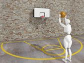 Basketball player shooting the ball , street basketball, Urban basketball court — Stockfoto
