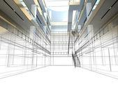 ホールのインテリアのデザインをスケッチします。 — ストック写真