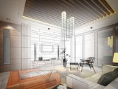 Ketch design of living ,3dwire frame render — Stock Photo