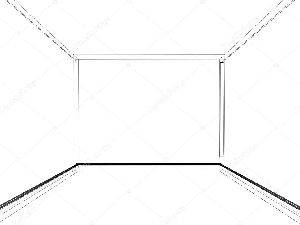Abstract Sketch Design Of Interior Empty Room Stock