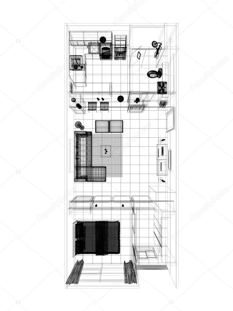 Schets ontwerp van bovenaanzicht interieur kamer — stockfoto ...