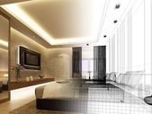 эскизный проект интерьера спальни — Стоковое фото