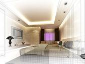 Sketch design of interior bedroom — Stock Photo