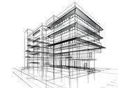 Schets ontwerp van gebouw — Stockfoto