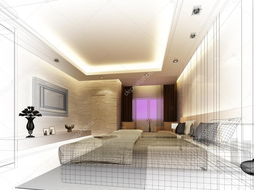 Schizzo di design di interni camera da letto foto stock for Immagini design interni