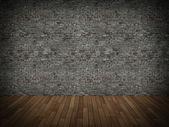 Alte mauer und holz ziegelboden, 3d — Stockfoto