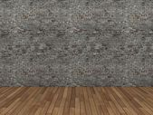 Old brick wall and concrete floor,3d — Stock Photo