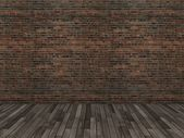 Old brick wall and wood floor,3d — Stock Photo