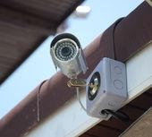 Gümüş güvenlik kamera veya cctv ev — Stok fotoğraf