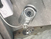 Silver security Camera or CCTV in home — Stock Photo