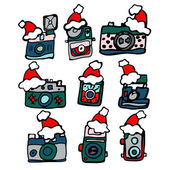 Christmas vintage cameras — Stock Photo