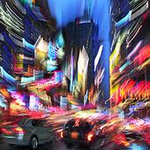 Ciudad de la noche del movimiento intencionado desenfoque — Foto de Stock