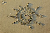Image of the sun on the sand — Stock fotografie