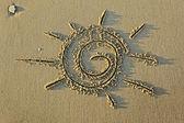 Image of the sun on the sand — Foto de Stock