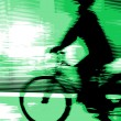 Man riding sport bike in motion blur — Stock Photo