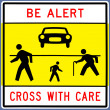 Traffic signpedestrian traffic sign — Stock Photo