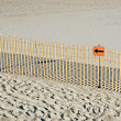 Stock Photo: Warning sign on beach