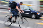 Shipping with bicycle in the city — Stock Photo