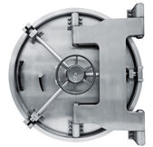 Bank vault door isolated on white with clipping path — Stock Photo