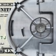 One dollar with bank vault door — Stock Photo