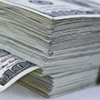 Stack of  hundred  dollar bills — Stockfoto