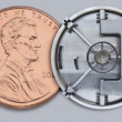 One cent coin with bank vault door — Stock Photo