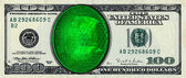 One hundred dollars banknote with green diamond — Stock Photo