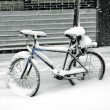 Biking covered with snow — Stock Photo