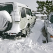 Vehicles covered with snow — Stock fotografie
