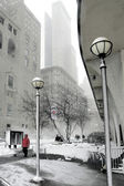 Snowy winter in the city — Stock Photo